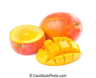 Fresh delicious mango fruit and slice isolated on white...