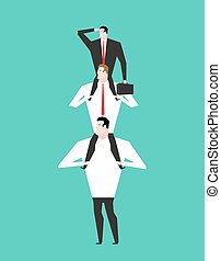 Office Hierarchy. Business pyramid. company structure. Boss sitting on shoulders on subordinates. Managers hold head.
