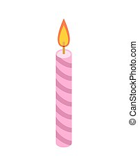 Candle pink for birthday cake. Accessory holiday pie