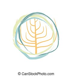 Tree abstract isolated. Doodle vegetation on white background