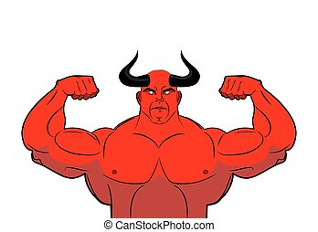 Strong demon with horns. Powerful red devil. Satan bodybuilder
