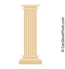 Greek Column isolated. Antique post. Ancient Architectural pillar