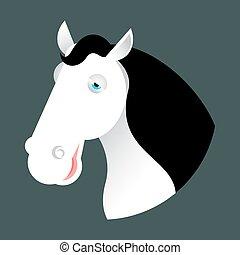 White horse head. Muzzle hoss isolated on white background