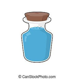 Mana in bottle. Transparent Glass Bank with ancient magic blue liquid. Holy water