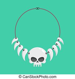 necklace of skulls and tusks. ethnic Decoration indigenous...