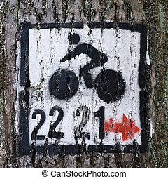 paint bicycle sign on tree
