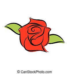 Red rose isolated. Flower and green leaves on white background
