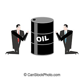 Businessman praying for oil. Prayer barrel of petroleum....