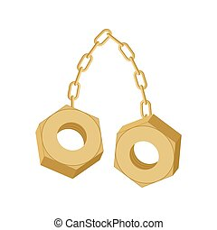 Gold Nuts on chain isolated. Two screw-nut hang