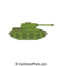 Military tank isolated. Army war machine on white background