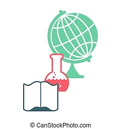 Science logo. Emblem for scientific laboratory. flask and globe. Open book. college sign