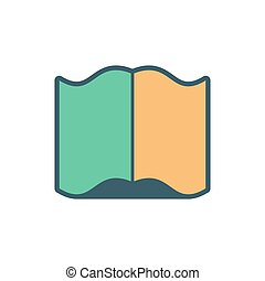Open book sign. opened Old volume on white background