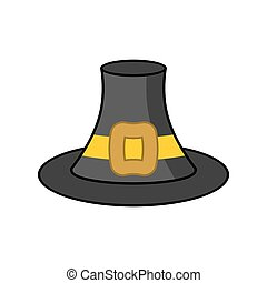 Pilgrim hat isolated. Old Black cap traveler on white...