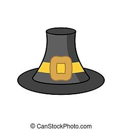 Pilgrim hat isolated. Old Black cap traveler on white...