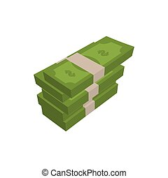 stack of money isolated. pile of cash on white background