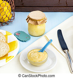 Square image of home made leomon curd - Square image of home...