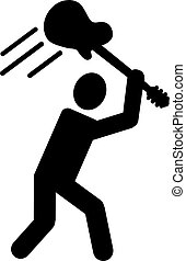 Pictogram with guitar over head