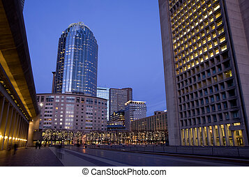 Boston center architecture - Bostons Prudential building and...