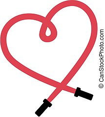 Skipping rope in shape of a heart