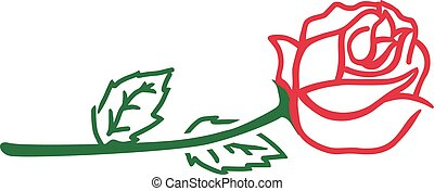 Abstract rose with stem, leaves and blossom