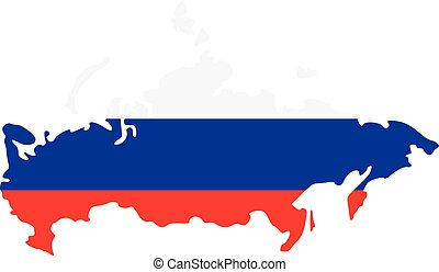 Russia map with flag