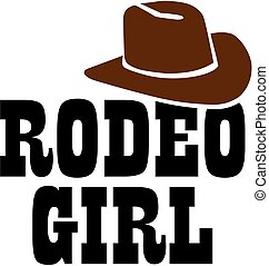 Rodeo girl with cowboy hat