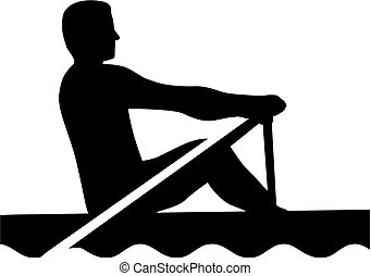 Rowing man silhouette