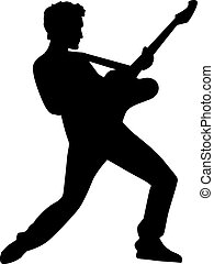 Rockstar silhouette with electric guitar
