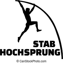 Pole vault silhouette with german word