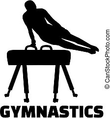 Gymnastics with man at pommel horse