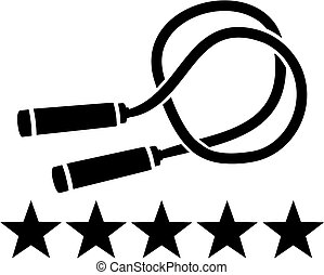 Skipping rope with five stars