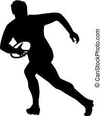 Rugby player running with ball