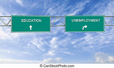 Road signs to education and unemployment