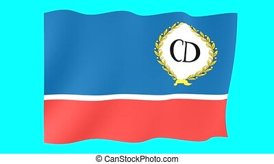 Danube-Commission-reverse flag. Waving computer animatie. -...