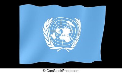 United Nations flag. Waving - Flag animation Background...