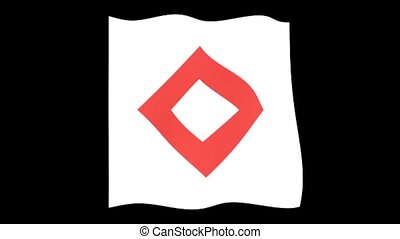 Red Crystal flag. Waving computer animatie. - Flag animation...