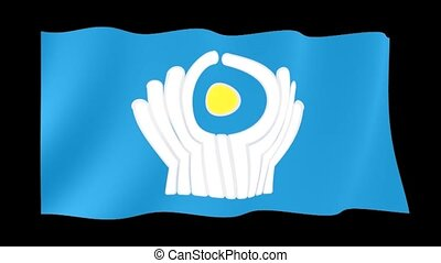 Commonwealth-of-Independent-States flag. Waving - Flag...