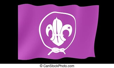 World Scouts flag. Waving computer animatie. - Flag...