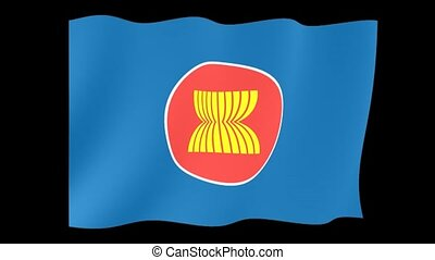Asean flag. Waving computer animation. - Flag animation...