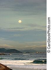 Moon over the sea in Ipanema Rio de Janeiro - The moonrise...