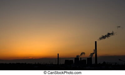 Thermal power station smokes stack time-lapse.