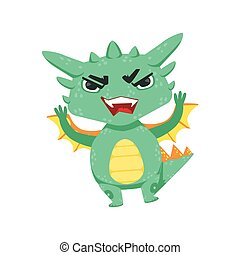 Little Anime Style Baby Dragon Angry In Offence Cartoon...