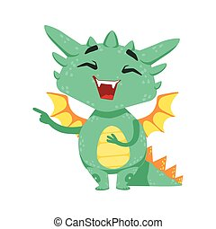Little Anime Style Baby Dragon Laughing And Mocking Cartoon...