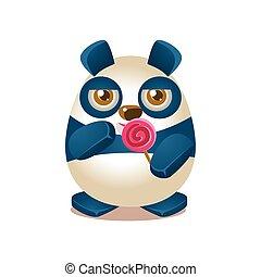 Cute Panda Activity Illustration With Humanized Cartoon Bear...