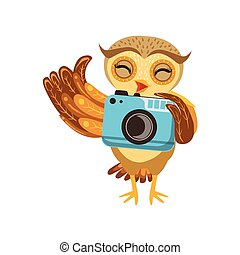 Tourist Owl With Camera Cute Cartoon Character Emoji With Forest Bird Showing Human Emotions And Behavior