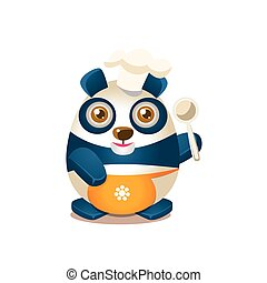 Cute Panda Activity Illustration With Humanized Cartoon Bear Character In Cook Outfit