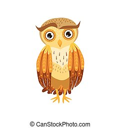 Sceptic Owl Cute Cartoon Character Emoji With Forest Bird...