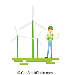 Man In Hard Hat Standing Next To Wind Power Turbines ,...