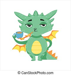 Little Anime Style Baby Dragon Warming Up Tea With Fire...