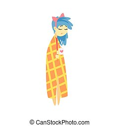 Sad Girl With Blue Hair Wrapped In Blanket With Hot Drink Feeling Blue, Part Of Depressed Female Cartoon Characters Series